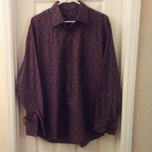 Alfani Men Paisley Brown Casual Dress Shirt Large
